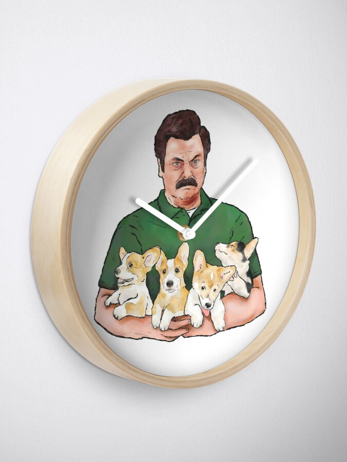 Alternate view of Ron Swanson Holding Corgi Puppies Clock