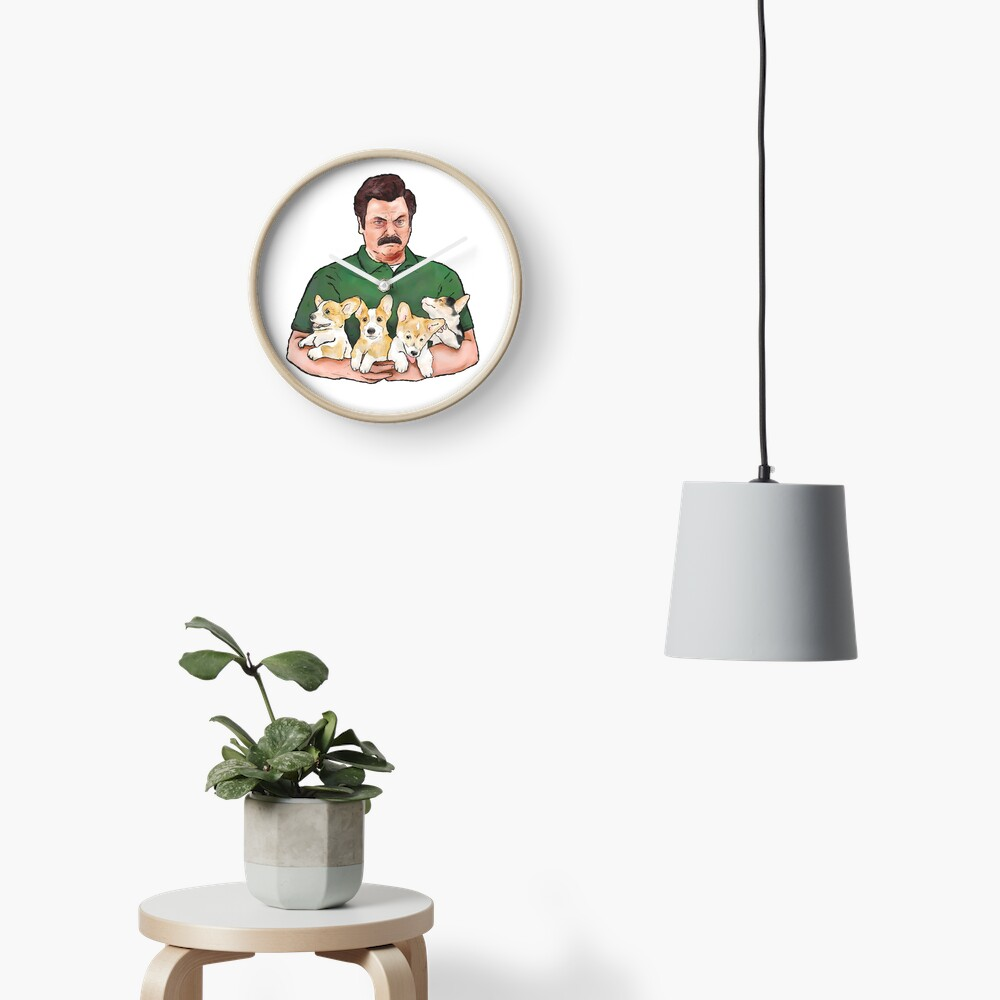Ron Swanson Holding Corgi Puppies Clock