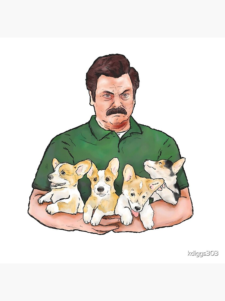 Ron Swanson Holding Corgi Puppies by kdiggs303