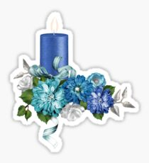 Blue Candle Flowers And Ribbon Sticker