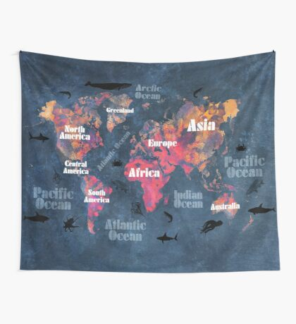 world map 115 #worldmap #map Wall Tapestry