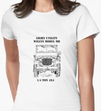 Light Utility Willys Model MB Jeep (1) Women's Fitted T-Shirt