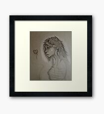 Cat Anthro with heart Framed Print