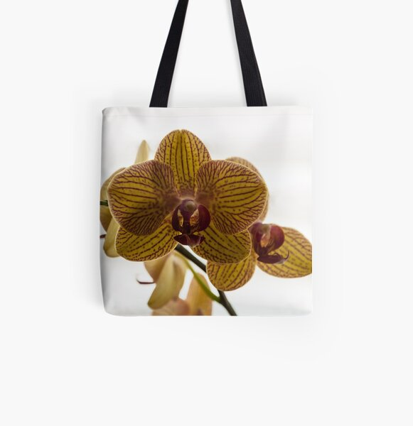 Red Veined Orchid All Over Print Tote Bag