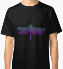 Dragonfly, beautiful winged insect, bright blue violet color outline Classic T-Shirt