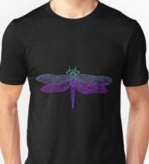 Dragonfly, beautiful winged insect, bright blue violet color outline Unisex T-Shirt