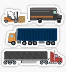 Forklift Truck. Delivery Van. Delivery Truck. Delivery Trailer. Logistics Industry. Heavy Transportation. Cargo Transportation. Delivery Service. Flat Style Sticker