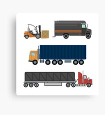 Forklift Truck. Delivery Van. Delivery Truck. Delivery Trailer. Logistics Industry. Heavy Transportation. Cargo Transportation. Delivery Service. Flat Style Canvas Print
