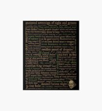 Shakespeare Insults Dark - Revised Edition (by incognita) Art Board