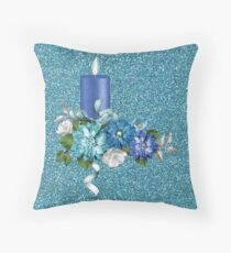 Faux Glitter Blue Candle Flowers And Ribbon Throw Pillow