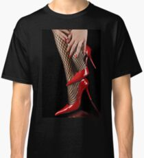 Woman legs in fisnet stockings and high heels Classic T-Shirt