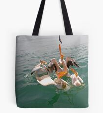 Feedtime at the home of the Pelicans Tote Bag