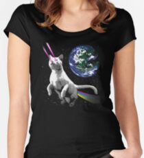 Laser Space Cat  Women's Fitted Scoop T-Shirt