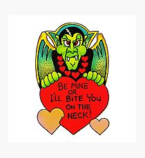 """Bite Me"" in White - Vampire, Dracula, Vintage, Retro, Valentine's, Day, Card, Love, Hearts, Red, Scary, Spooky, Halloween, Holiday, Bats, Funny, Humor, Silly, Cute Photographic Print"