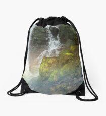 Waterfall Crashing Over Rocks Drawstring Bag