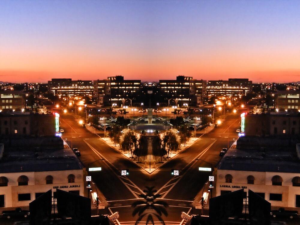 Western Downtown Phoenix Sunset by KLPhair