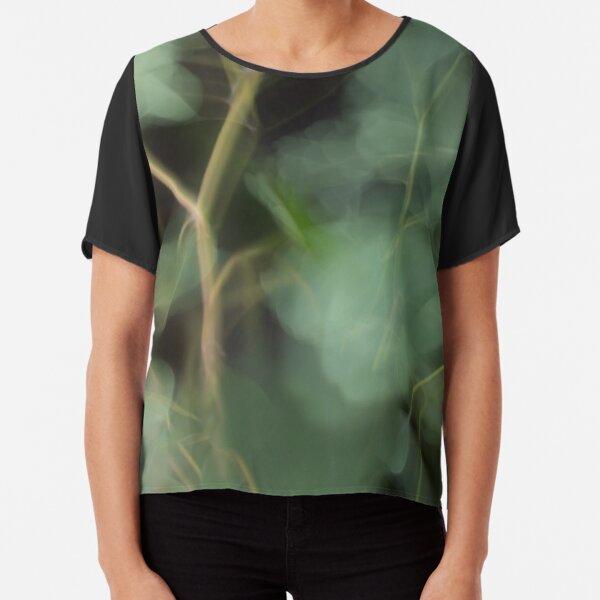 Fleur Blur-Abstract Eucalyptus Leaves on Black Background Chiffon Top