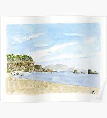 Plein Air Beach Watercolor Print Poster