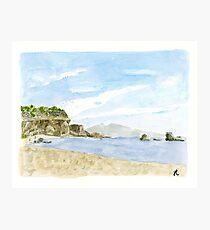 Plein Air Beach Watercolor Print Photographic Print