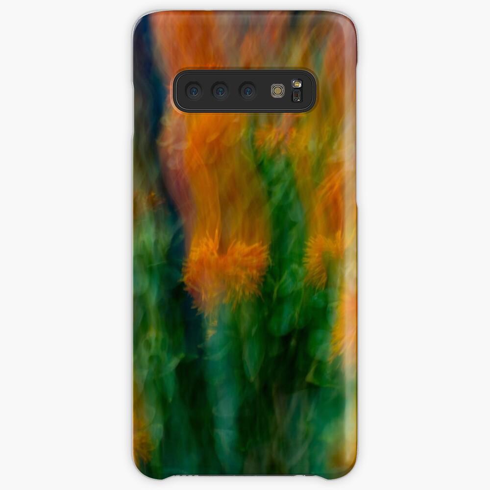 Fleur Blur-Abstract Orange Safflowers & Green Leaves Samsung Galaxy Snap Case