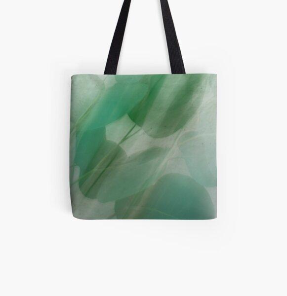 Fleur Blur Series-Abstract Eucalyptus Leaves All Over Print Tote Bag