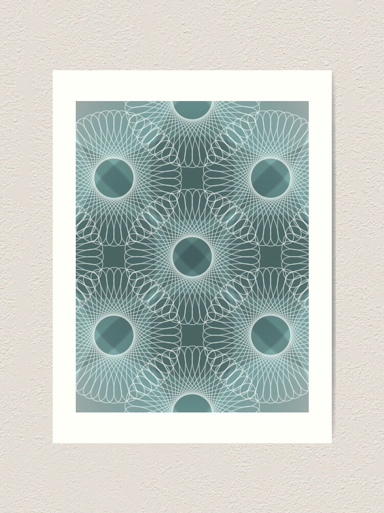 Alternate view of Circled in Shades of Teal Art Print