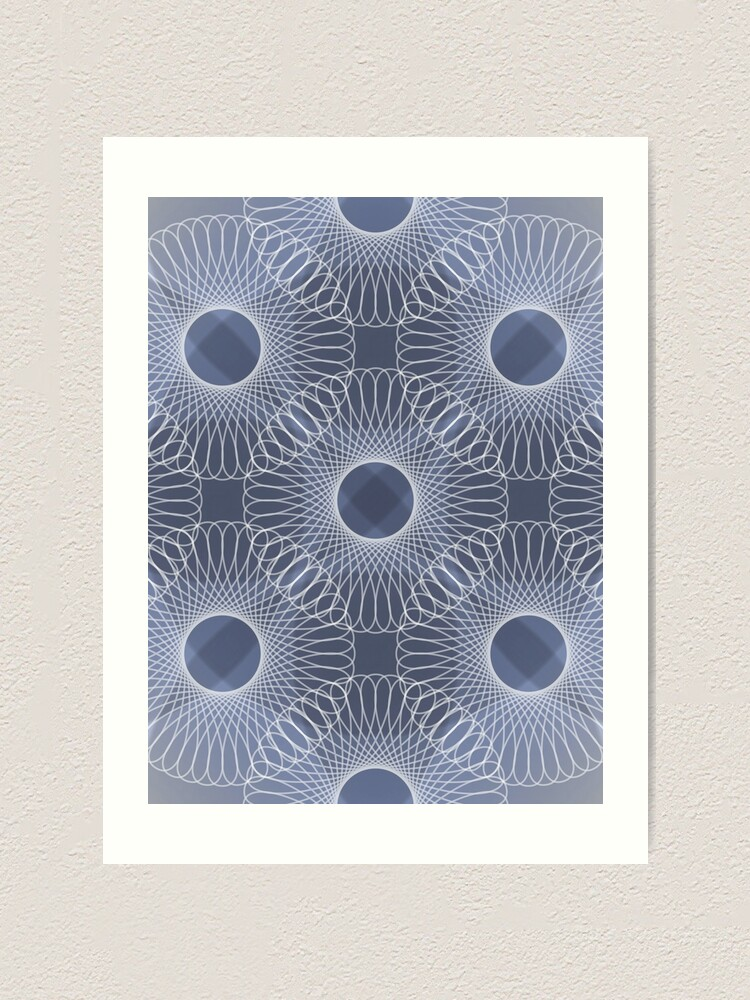 Alternate view of Circled in Shades of Sapphire Blue Art Print