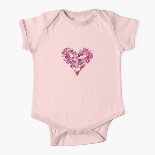 Heart buttons t-shirt Short Sleeve Baby One-Piece