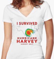 I Survived Hurricane Harvey 2017  Women's Fitted V-Neck T-Shirt