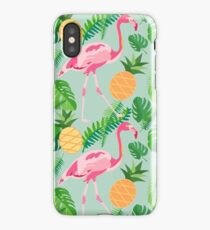 Tropical trendy seamless pattern with pink flamingos, pineapples and palm leaves iPhone Case/Skin
