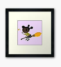 Retro Witch on a Broom (1) Framed Print