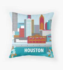 Houston, Texas - Skyline Illustration by Loose Petals Throw Pillow