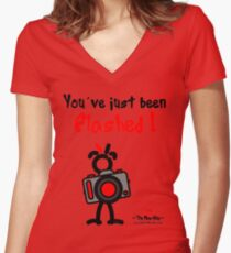 Red - The New Guy - You've just been Flashed ! Women's Fitted V-Neck T-Shirt