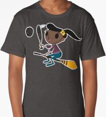 Retro Witch on a Broom (2) Long T-Shirt