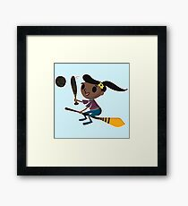 Retro Witch on a Broom (2) Framed Print