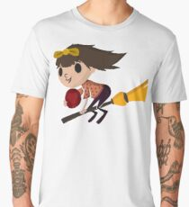 Retro Witch on a Broom (3) Men's Premium T-Shirt