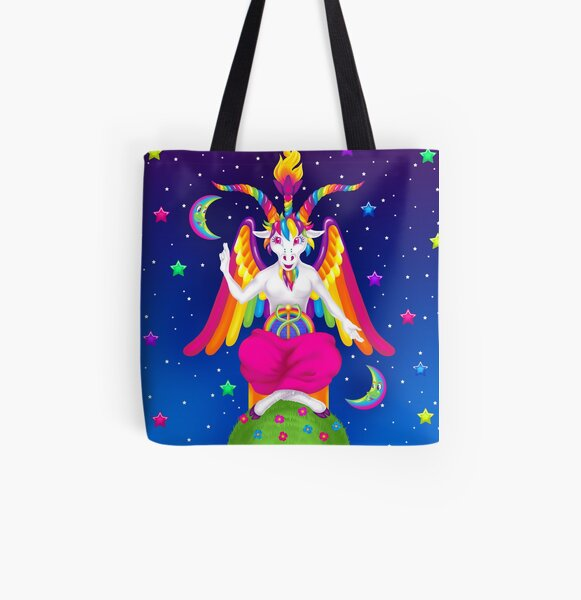 1997 Neon Rainbow Baphomet All Over Print Tote Bag