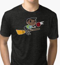 Retro Wizard on a Broom (2) Tri-blend T-Shirt