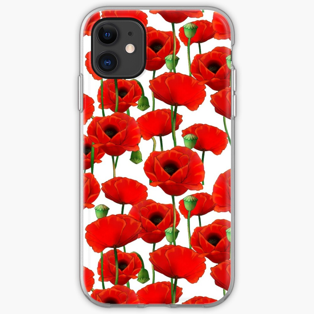 Poppy Pattern iPhone Soft Case