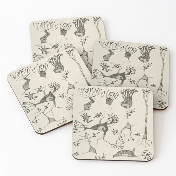 Vintage Neuron Cells Coasters (Set of 4)
