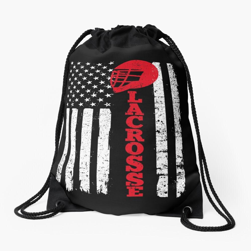 Flag Lacrosse Drawstring Bag