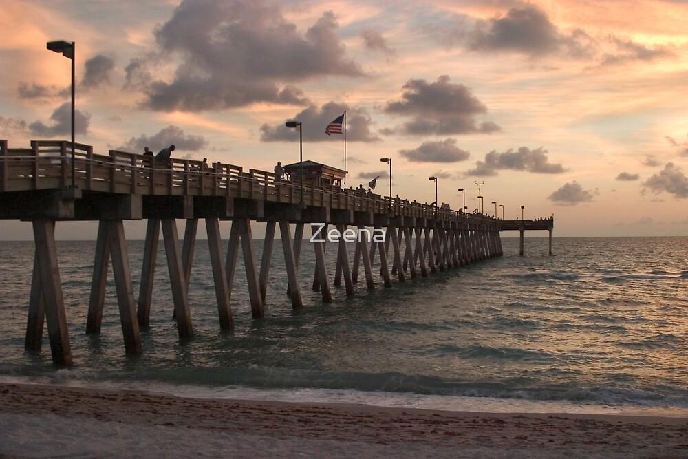 Sharkies Pier at sunset by Zeena