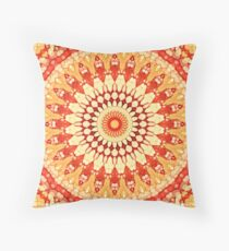 Red Yellow Orange Summer Sun Mandala Pattern Throw Pillow