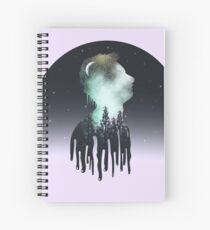 Galaxy Boy on the Moon Spiral Notebook