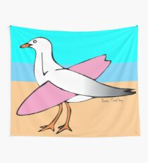 Gulls Just Wanna Have Fun! (with background) Wall Tapestry