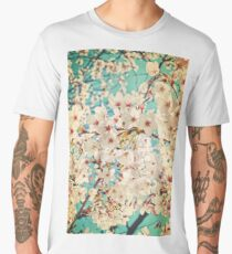 Cherry tree blossom  on  blue sky Men's Premium T-Shirt