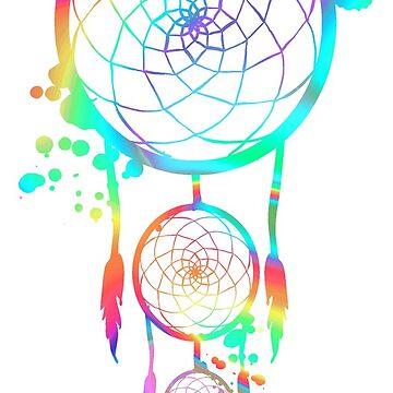 ink spill rainbow dreamcatcher by brickelle