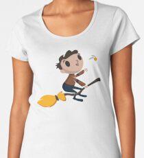 Retro Wizard on a Broom (3) Women's Premium T-Shirt