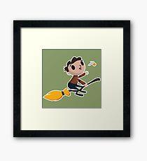 Retro Wizard on a Broom (3) Framed Print