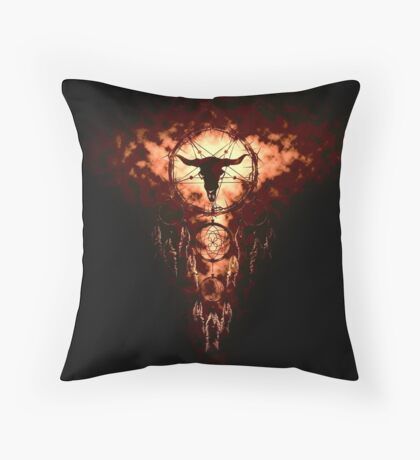 summoning circle pentagram - dream catcher Throw Pillow